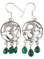 OM (AUM) Earrings with Green Onyx Dangles
