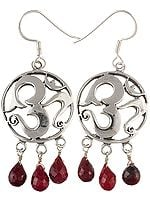 The Sure Way To Success (OM (AUM) Earrings with Ruby Dangles)