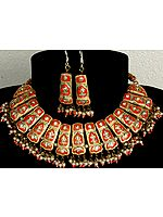 Orange and Golden Bridal Necklace and Earrings Set with Cut Glass