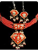 Orange Meenakari Necklace and Earrings Set with Beads