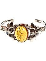 Oval Amber Bracelet with Sterling Leaves