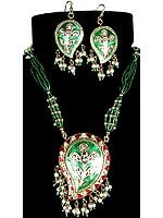 Paisley Green and Red Necklace and Matching Earrings