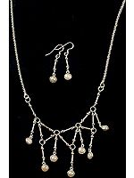 Pearl Dangling Spike Necklace with Matching Earrings Set