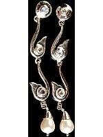 Pearl Drop Earrings with Rainbow Moonstone Earrings