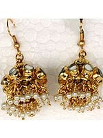 Pearl Kundan Chandelier Earrings