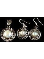 Pearl Pendant with Matching Earrings Set