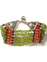 Peridot, Carnelian and Garnet Beaded Surya Bracelet