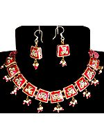 Magenta Floral Necklace and Earrings