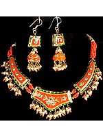 Pink-Orange Mughal Necklace with Jhumka Earrings
