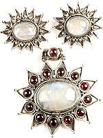Rainbow Moonstone and Garnet Pendant with Earrings Set