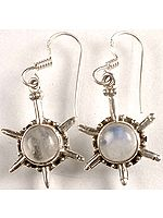 Rainbow Moonstone Earrings with Spikes