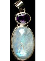 Rainbow Moonstone with Faceted Amethyst Pendant