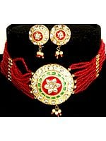 Red and Golden Solar Necklace and Earrings Set with Beads