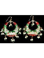 Red and Green Meenakari Cradle Earrings