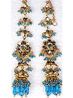 Robin-Egg Earwrap Kundan Earrings with Cut Glass Beads