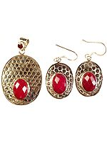 Ruby Pendant with Matching Earrings Set