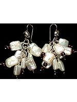 Rugged Pearl Bunch Earrings with Garnet