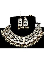 Silver and Black Beaded Necklace with Golden Accents and Earrings