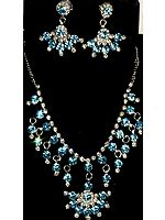 Sky-Blue Necklace and Earrings Set with Cut Glass