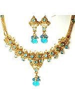 Sky-Blue Polki Necklace and Earrings Set with Cut Glass
