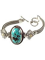 Spider's Web Turquoise Bracelet with Twin Citrine