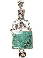 Spider's Web Turquoise Pendant with Faceted Smoky Quartz