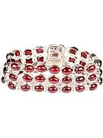 Sterling Bracelet of Forty Eight Garnet Cabochons