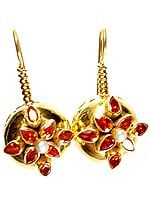 Sterling Gold Plated Earrings with CZ and Pearl