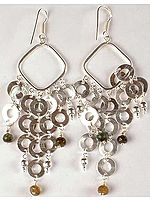 Sterling Hoop Chandeliers with Tourmaline