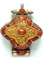 Tibetan Gau Box Pendant with Coral