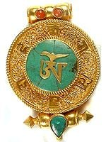 Tibetan Om Pendant (Gold Plated Gau Box)