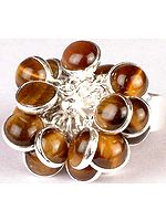 Tiger Eye Bunch Ring with Central Flower
