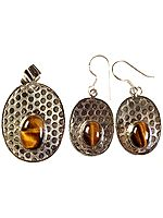 Tiger Eye Pendant with Matching Earrings Set