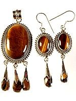 Tiger Eye Pendant with Matching Earrings