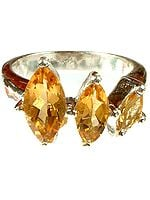 Triple Marquis Citrine Ring