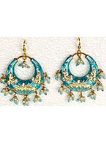 Turquoise and Golden Meenakari Cradle Earrings