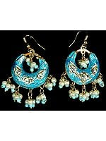 Turquoise Cradle Earrings with Golden Accents