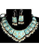 Turquoise Floral Necklace with Earrings