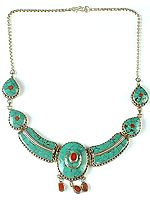 Turquoise Necklace with Coral