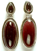 Twin Garnet Hinged Earrings