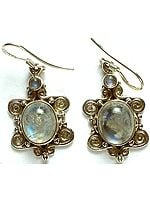 Twin Rainbow Moonstone Earrings