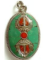 Vajra Pendant with Inlay Turquoise & Coral