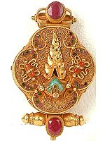 Vajrayogini (Dakini) Gau Box with Flaming Torma at Front
