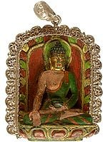Varada-Mudra Seated Buddha with Filigree Aureole Border