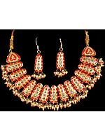 Vermilion and Gold Designer Necklace with Earrings Set