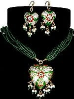 Victoria Cross Islamic Green Necklace with Matching Earrings