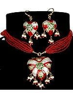Victoria Cross Red Green Necklace with Matching Earrings