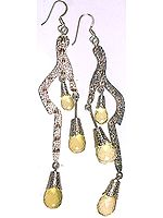 Victorian Lemon Topaz Drop Earrings