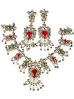 Victorian Ruby and Emerald Necklace with Earrings