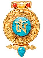 Om Gau Box Gold Plated Pendant with Filigree